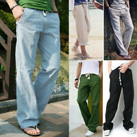 Mens Linen Loose Slacks Pants Beach Drawstring Yoga Sports Casual Long Trousers