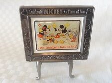 Coca-Cola Mickey Mouse Pewter Framed Picture Easel 75 Years of Fun Miniature MIP