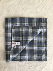 MICHAEL BASTIAN Men's Linen Pocket Square Multicolor Plaid Made In Italy NWOT