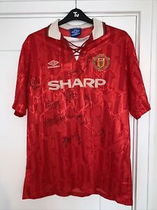 Signed 1992-1994 Manchester United Iconic Home Football Shirt XXL