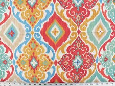 Drapery Upholstery Fabric Indoor/Outdoor Mottled Ikat Print - Salmon Red