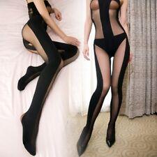 Sexy Lingerie Babydoll Hot Teddy Bodysuit Sheer Opaque BODYSTOCKING OPEN Crotch