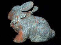 Vintage Terra Cotta Rabbit Flower Necklace Old Worn Silver Paint