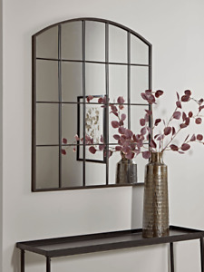 Cox & Cox Industrial Living Room Sleek Curved Top Window Mirror - RRP £150