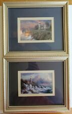 Thomas Kinkade Lighthouse Framed Paintings Pictures, Set of 2