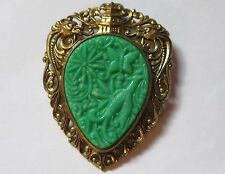 ORIENTAL MOTIF carved molded green plastic DRAGONS flowers VINTAGE brooch VGUC