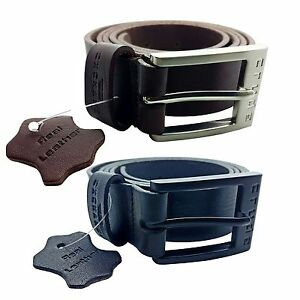 """CRUDE EXCHANGE Mens Black Brown Trouser Jeans Real Genuine Leather Belts 26""""-64"""""""