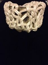 Erickson Beamon White Ivory Leather Silver Cuff Wide Bracelet Beyonce Lady GaGa