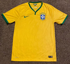 Nike Mens Brazil Cbf 2014 Dri-Fit World Cup Yellow Soccer Jersey Size Medium M