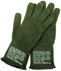 Military Issued OD Green Wool Glove Liners-NEW