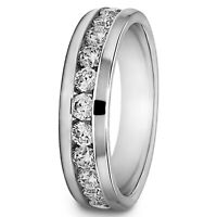 0.50 Carat Real Diamond Engagement Band 14K Solid White Gold Men Ring Size 10 11
