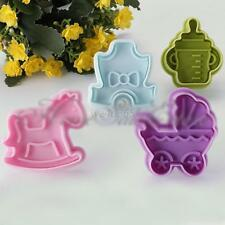 New 4PCS  Funny Baby DIY Toys Cookie Cake Cutter Fondant Plunger Decorating Mold