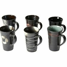 NEW Casa Uno Stoneware Mug, Black (Set of 6)