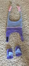 Columbia Pigtail Hat Infant Toddler w/matching mittens Purple & Blue Fleece EUC