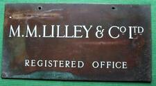 Genuine Brass Vintage Industrial Antique Sign Plaque : Lilly & Co Ltd Reg Office