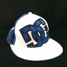 DC Shoes Fitted Baseball Hat Blue White Plaid  Flexfit Cap Small Medium Black