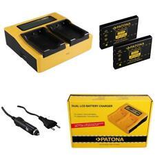 2x Batterie Patona + Chargeur 4in1 Dual LCD Pour Aiptek Pocketdv T200