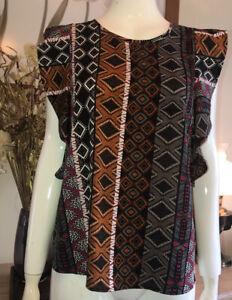 PAPAYA Summer Short Sleeve Multicoloured Aztec Geometric Top Size 14