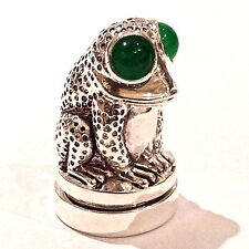EDWARDIAN STYLE FROG WITH JADE EYE THIMBLE PIN CUSHION 925 SILVER PLATED