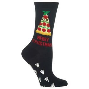 Merry Crustmas Hot Sox Women's Non-Skid Crew Socks Black Pizza Pie Fashion