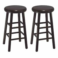 Bar Stools Set Of 2 Swivel Counter Height Wooden Pub Bistro Chair Kitchen Dining
