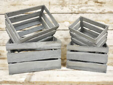 Set Of 4  Wooden Grey Storage Crates Small Large Distressed Item Organisers New