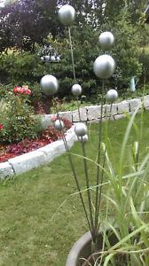Gartenstecker Edelstahlstele Gartendeco Skulptur Kugelstrauch