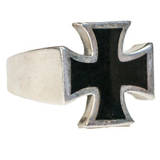 Iron Cross Ring .925  silver black Biker Heavy Metal Gothic German feeanddave