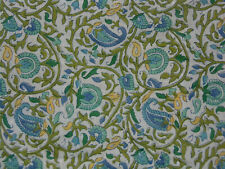 POTTERY BARN NINA FLORAL BLUE/GREEN/YELLOW 100% COTTON SHOWER CURTAIN