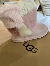 Ugg Classic Fur Paychwprk Pink Boots Size 12 New
