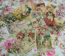Set of 16 Large Vintage/Victorian Valentine labels vintage postcard images
