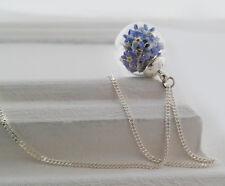 echte 925 Sterling Silber Kette 50cm, echte Vergissmeinnicht Blüten (62/925/50/V