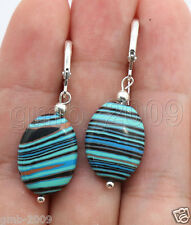 Handmade Oval Multicolor Turkey Turquoise Sterling Silver Leverback Earrings