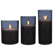 Set of 3 LED Real White Wax Candle, Smoke Glass 3D Light Up Flame Timer Function