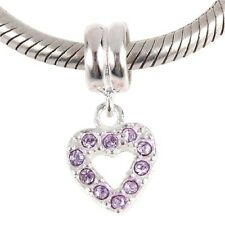 Heart Dangle Charm Bead 925 Sterling Silver