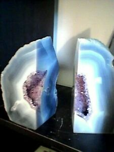 Polished Agate Bookends with Amethyst cave. Approx 5kg