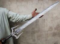 Blacksmith New Custom Made Damascus Steel Viking Medieval Sword, Steel Handle