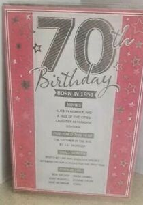 70TH  BIRTHDAY CARD  BORN IN 1951 EVENTS CARD UNIQUE TO THE YEAR YOU WERE BORN