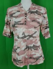 North River Outfitters Pink Camo 3/4 Sleeve Hooded Blouse - Size Large Junior