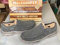 SKECHERS HURVEN SLIP ON Grey Color MEMORY Foam Shoes Men's Size 14