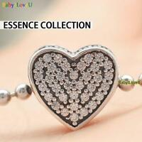 925 Sterling Silver Essence Collection Love Heart Charm Pave Clear CZ F Bracelet