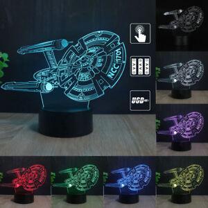Star Trek USS Enterprise 3D LED 7 Farbe Tischlampe Nachttischlampe Leselampe