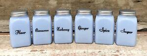 Delphite Set of (6) Art Deco Blue Milk Glass Vintage-Style Shakers