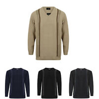 MENS STRIPED V NECK JUMPERS PULL OVER KNITWEAR SWEATER KNITTED LONG SLEEVE TOP