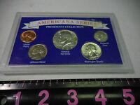 Americana Series 5 Coins Silver Half Quarter Dime Presidents Collection