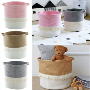 Cotton Rope Woven Storage Basket Blanket Toy Container Laundry Clothes Basket UK