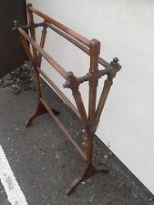 Antique 19th Century Arts & Crafts Walnut Inlaid Towel Rail