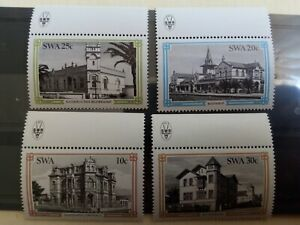 SOUTH WEST AFRICA SWA 1981 Historic Buildings Control Strips Set of 4 MNH