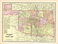 1900 Antique INDIAN TERRITORY Map Vintage George Cram Atlas Map of Oklahoma 8702