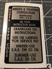 Briggs & Stratton Model Type & Code 1960's MS oil rating; 60MTCG Gold
